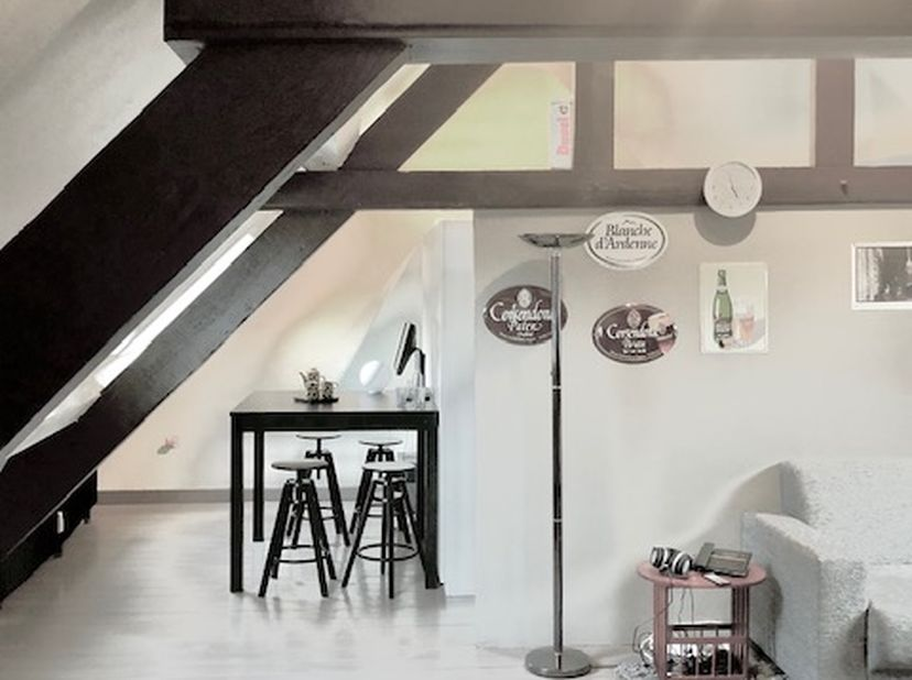In een gerenoveerd gebouw, in een steeg op de Grote Markt van Turnhout, een gezellige dakstudio. Woonkamer, keuken, slaapkamer met veel kasten en badk